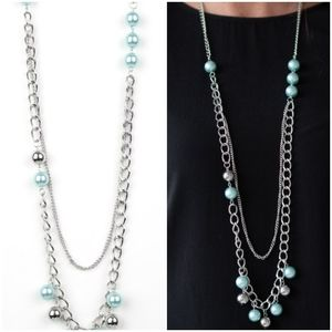 MODERN MUSICAL BLUE NECKLACE/EARRING SET